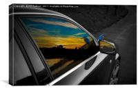 Sunset and kingfisher reflections in Audi window, Canvas Print