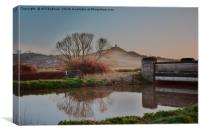 River Blue and Glastonbury Tor in HDR , Canvas Print