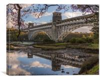 Britania Bridge, spanning the Menai Straits , Canvas Print