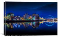 Blue hour Newcastle Quayside, Canvas Print
