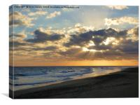 Glowing sunburst sunset , Canvas Print