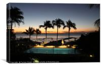 Mauritian sunset by the pool lined with palm trees, Canvas Print