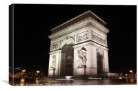 Arc de Triomphe at night, Paris, Canvas Print