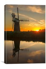 Sunset at How Hill wind pump , Canvas Print
