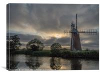 Sunset at Turf Fen Mill, Canvas Print