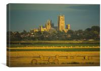 Harvest time around Ely, Canvas Print