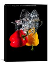 Red and Yellow pepper dropped in Water , Canvas Print
