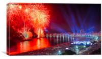 Iconic and breath-taking fireworks display on Copa, Canvas Print