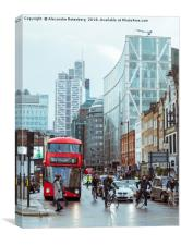 Red bus in City of London, Canvas Print
