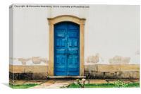 Blue vintage door - Ouro Preto, Brazil, Canvas Print