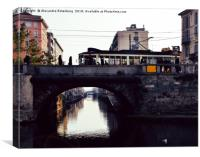 Naviglio Pavese in Milan, Lombary, Italy, Canvas Print