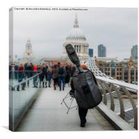 Street musician on Millennium Bridge, London, Canvas Print