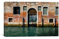 Venetian house on canal, Canvas Print