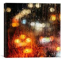 Raindrops on street window, Canvas Print