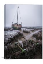Beached Boat in the Fog, Canvas Print