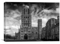 Ely Cathedral in Mono, Canvas Print