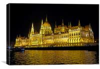 Hungarian Parliament at night                     , Canvas Print