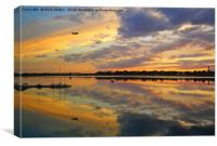 Sunset over the Pleasure Bay, Boston Harbor, Canvas Print