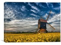 Stevington Windmill surrounded by Rapeseed at sunr, Canvas Print