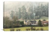 Chimney Smoke in a North Yorkshire village, Canvas Print