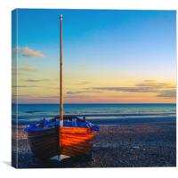 Fishing boat on Hastings Beach, Canvas Print