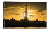 HMS Trincomalee, Hartlepool Historic Quay at Sunse, Canvas Print
