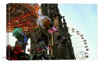 Merry- go-round and ferris wheel, Christmas, Edinb, Canvas Print