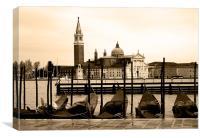 Gondolas and San Giorgio Maggiore, Venice, sepia, Canvas Print