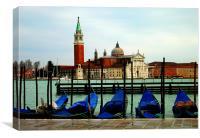 Gondolas and San Giorgio Maggiore, Venice, Canvas Print