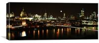 London by night with reflections, Canvas Print