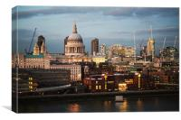 City of London and St Paul's Cathedral at dusk, Canvas Print