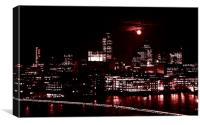 London by night with full moon, Canvas Print