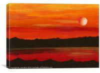 Red planet Mars, red sea and moon abstract, Canvas Print