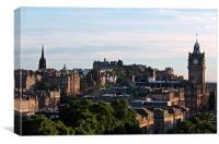 Edinburgh castle and citycsape at dusk, Canvas Print