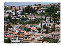 View of Granada from the Alhambra, Spain, Canvas Print