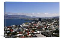 Faxafloi Bay and cityscape, Reykjavik, Iceland, Canvas Print