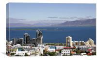 Faxaflói Bay and cityscape, Reykjavík, Iceland, Canvas Print