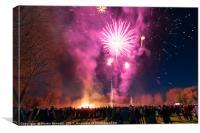 Firework display in Malmesbury, Canvas Print