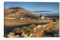 Windmill Landscape, Villaverde, Fuerteventura, Canvas Print
