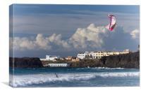 Surfers Beach Kite Surfer, El Cotillo, Fuerteventu, Canvas Print