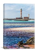 Lighthouse and Stripy Seascape, Canvas Print