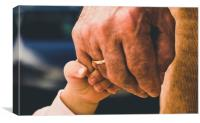 Little boy holding his grandfather's hand, Canvas Print
