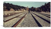 Boy walking for the railway, Canvas Print