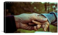 Grandfather and grandson holding hands, Canvas Print