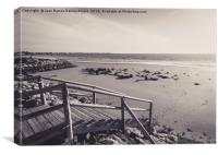 Wooden jetty over the breakwater at low tide, Canvas Print