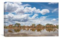 Rush hour at the waterhole, Canvas Print