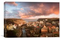 Sunset over Staithes, Canvas Print