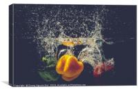 Green Yellow Red bell peppers drop into the water , Canvas Print