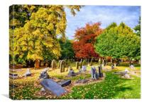 Autumn Colours in Cemetery, Canvas Print