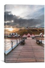 View from the Pier up to Saltburn Town, Canvas Print